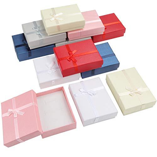 Kurtzy Cajas de Regalo para Joyas (Pack de 12) 8,5 x 6,5 x 2,5 cm Cajitas Regalo Mostrar Joyas Set 6 Colores - Caja Pequeña Regalo con Inserto Espuma para Pendientes, Collares, Brazaletes y Anillos