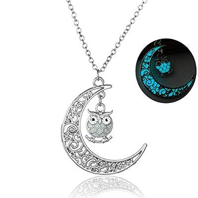 Eddizu Luminous Hollow Out Owl Crystal Pendant ...