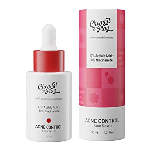Chemist at Play Acne Control Face Serum with Ceramides | 10% Azelaic Acid + 10% Niacinamide | All Skin Types | For oil control, minimizing pores, and clearing acne | 30 ml