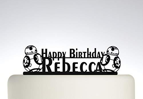Decoración para tarta de cumpleaños, diseño de Robort BB8, con texto en inglés 'Your Name'