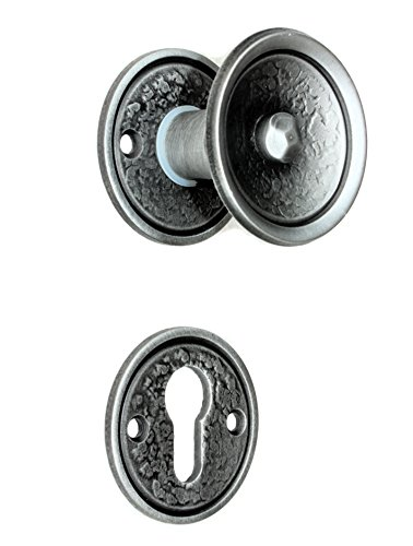 UHRIG #908-2 Set Knopfdrücker Paar drehbar + Rosetten schmiedeeisen Klinke Türknauf