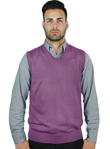 Blue Ocean Solid Color Sweater Vest Lavender XXX-Large