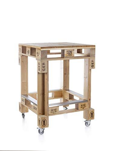 Palettenmöbel Stehtisch in Palettenoptik aus sibirischer Lärche mit Trittschutz aus Edelstahl. Jedes Möbel ein Unikat und in Handarbeit in Deutschland hergestellt.