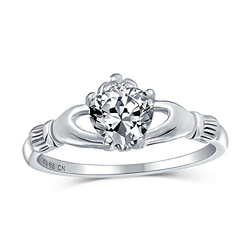Bling Jewelry BFF Celtic Irish Friendship Promise Cubic Zirconia CZ Pave Corazón Claddagh Ring para Mujeres para Adolescente 925 Plata esterlina