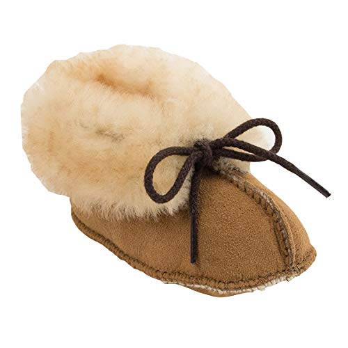 Product Image of the Minnetonka Infant's Sheepskin Booties 0 M Golden Tan