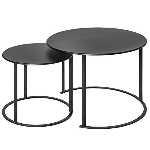 Outsunny Set 2 Tavolini da Salotto e Giardino Salvaspazio Sovrapponibili, Tavolini da caffè in Ferro, Nero