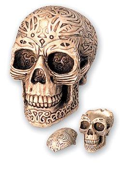 Imagen del producto bricabreizh Cenicero Tribal con diseño de cráneo, con Tapa