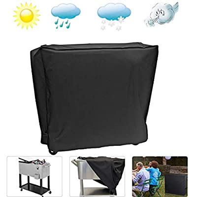 MUX Cooler Cart Cover Waterproof Black 80QT Cooler Cart Rolling Patio Ice Chest Cooler Outdoor Party Beverage/Cooler Cart