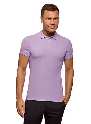 oodji Ultra Herren Pique-Poloshirt, Violett, DE 52-54 / L