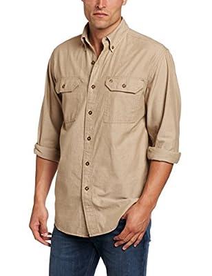 Carhartt Men's Fort Long Sleeve Shirt Lightweight Chambray Button Front Relaxed Fit,Dark Tan Chambray,Medium