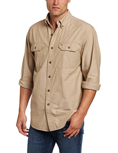 Carhartt Fort leichtes Chambray-Hemd S202, mit Knopfleiste, lockere Passform, langärmelig, X-Large, Dark Tan Chambray, 1