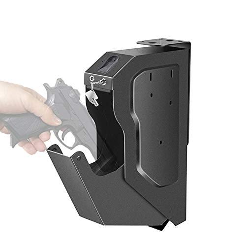 EnweLampi Caja Fuerte Portatil para Armas, Pistola Caja Fuerte de Seguridad Acero con Biométrica de Huellas Dactilares para Mesita de Noche, Escritorio de Computadora, Pared, Armario