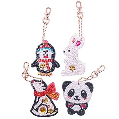 UM UPMALL Diamantgemälde-Schlüsselanhänger, voller Bohrer, Diamantgemälde, Anhänger, Mosaik, Schlüsselring für Taschen, Handy, Armbänder, Cartoon-Tiere, 4 Stück