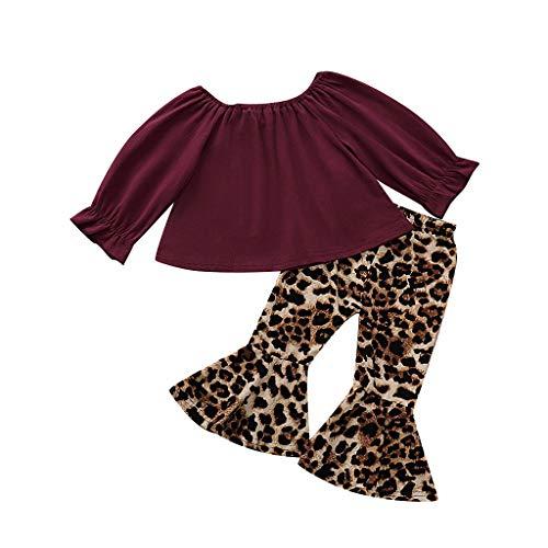 BUKINIE 2PCS Ensemble de vêtements Little Kids T-Shirt de Culture bébé Fille à Manches Longues + Pantalon évasé à imprimé léopard(Vin Rouge,3-4 Ans)
