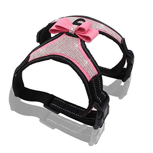 Kuntrona Reflective Dog Harness Nylon Pitbull Pug Small Medium Dogs Harnesses Vest Bling Rhinestone Bowknot Dog Accessories Pet Supplies (XL, Pink)