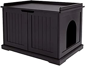unipaws Designer Cat Washroom Storage Bench, Litter Box Cover, Sturdy Wooden Structure, Spacious Storage, Easy Assembly, Fit Most of Litter Box, Espresso