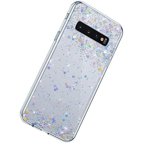 Herbests Coque Compatible avec Samsung Galaxy S10 Plus Ultra Mince Étui Silicone Paillette Glitter Housse de Protection Transparent Flexible Soft Gel Bumper Case Antichoc Back Cover Shell #2