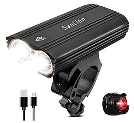 SanLion Faro Delantero para Bicicleta, 2 * LED CREE XM USB Recargable LED Faro lámpara para Bicicleta Potente, 2400 lumens luz, Multi Modos de iluminación, antigolpes Impermeable IP65