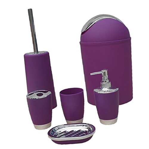 MonkeyJack 6PCS Solid Luxury Plastic Bathroom Accessories Set Bath Set Bath Storage 8 Colors - Purple, as described