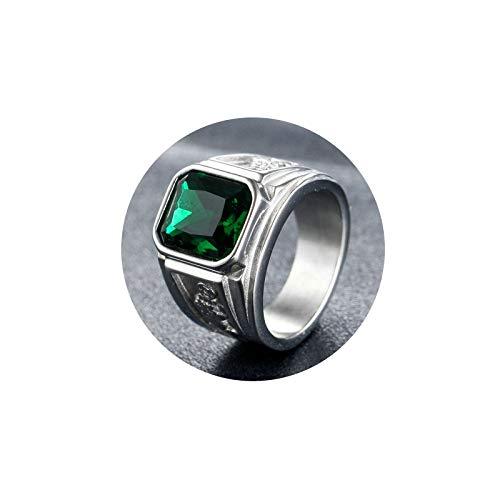SonMo Ringe für Herren Männer Kupfermünzen Ringe Herren Gothic Bandring Edelstahl Herren Siegelring mit Zirkonia Verlobungsring Biker Ring Grün 57 (18.1)
