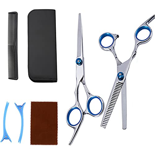 YHADX Juego de tijeras, tijeras de peluquería, tijeras planas, tijeras dentales, herramientas combinadas C-7 piezas