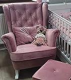 MARTHOME Schaukelstuhl für Schlafzimmer, Wohnzimmer, Kinderzimmer, Velour, Rosa