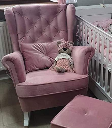 MARTHOME Poltrona a dondolo, poltrona per allattamento, sedia a dondolo, per camera da letto, soggiorno o camera dei bambini, in velluto (rosa)
