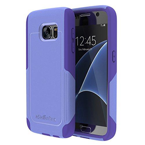 eSellerbox reg; - Custodia protettiva ibrida, corazza robusta a doppio strato per Galaxy S7 Galaxy S7 Edge Samsung serie S7, PLASTICA, viola, For Samsung Galaxy S7