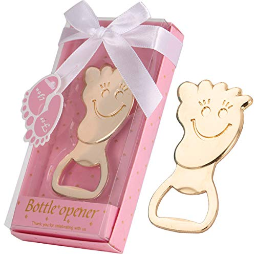 16 Pcs Baby Shower Favors for Boy Footprint Bottle Openers with Individual Gift Package, Baby Boy Newborn 1st 2nd 3rd Birthday Keepsake Creative Return Gifts Party Decoration (Footprint, Pink)
