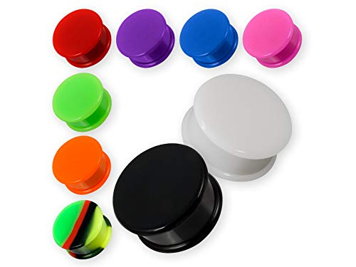 Fly Style 1 Stück Silikon Ohr-Plug | Flesh Tunnel Piercing Schmuck | Gummi Ohr-Stöpsel 4-30 mm, Grösse:8 mm, Farbwahl:schwarz