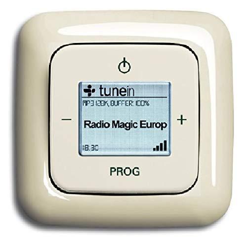 Busch Jäger Unterputz UP iNet Inernet WLAN Radio (8216U) DURO2000 Cremeweiß glänzend - Set mit Radioeinheit 8216 U, Rahmen und Radioabdeckung