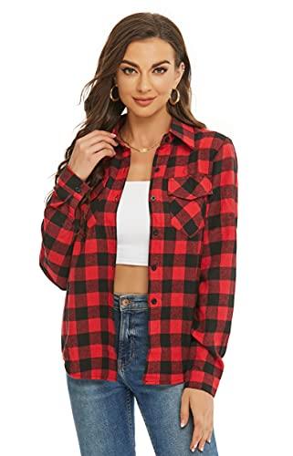 Ietaoo Camicetta Donna Camicia a Quadri Cotone Elegante Blusa Maniche Lunghe Casual Boyfriend Camicie Flanella Shirt Nero Rosso L