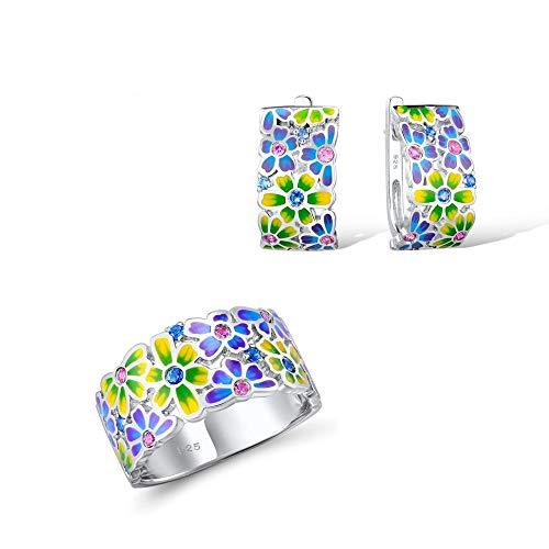 AdronQ® Conjunto de Joyas Colorido Esmalte Blanco CZ Piedras Anillo de Flores Pendientes Plata de Ley 925 Conjunto de joyería de Moda para Mujer