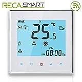 Termostato Beca Serie 1000 Due tubi per climatizzazione Fan Coil di retroilluminazione bianca con connessione WiFi per supporto Intelligent Voice (Due tubi, Bianco(WIFI))