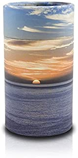 OneWorld Memorials Ocean Sunset Paper Biodegradable Urn for Spreading Ashes - Extra Small - Holds Up to 20 Cubic Inches of Ashes - Blue Orange Urns for Scattering Ashes - Engraving Sold Separately