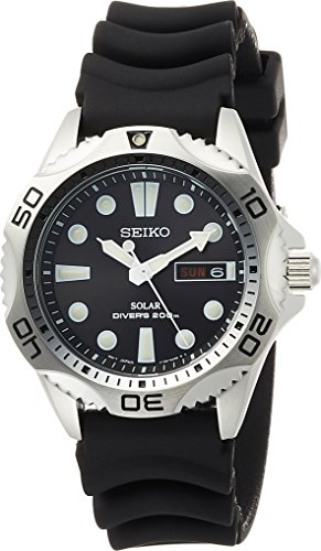 Seiko Men's SNE107P2 Rubber Analog with Black...