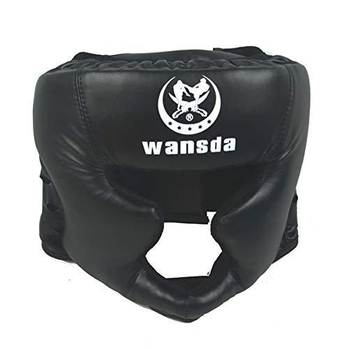 Taekwondo Kopfhörer für Boxen, Kunstleder, Karate, Kampfkunst, Taekwondo, Kopfschutz, praktisch, für Erwachsene, Wettkampfausrüstung, Fitness, Training, geschlossener Stil (schwarz), Schwarz