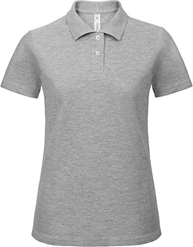 B&C: Ladies` Piqué Polo Shirt ID.001 Women PWI11, Größe:3XL;Farbe:Heather Grey