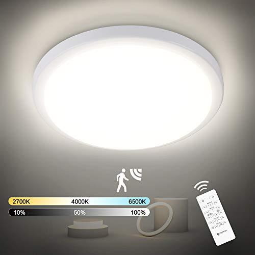18W LED Deckenleuchte mit Bewegungsmelder, 1800LM LED Sensorlampe Dimmbar mit Fernbedienung, Speicherfunktion, IP54 Deckenlampe Für Garage, Badezimmer, Treppen, Balkon, Flur, Keller, 2700K-6500K