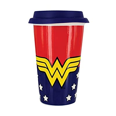 Superhero Double Wall Ceramic Road Cup With Silicone Lid