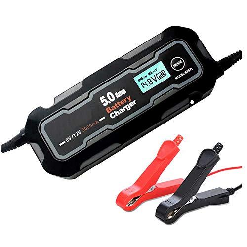 CUIJU Cargador de batería de Coche Inteligente automático con Pantalla LCD 6V 12V Cargador de batería de Mantenimiento (Negro)