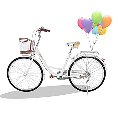 Women Bikes Beach Cruiser Bike, 26 Inch Classic Retro Bicycle Road Bikes, Commuter Bicycle High-Carbon Steel Frame with Front Basket, Rear Racks (26inch Classic Bicycle White)