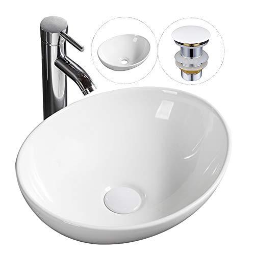 Lavabo ovalado moderno para encimera, lavabo de cerámica, 400 x 330 x 145 mm