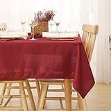Deconovo Manteles de Mesa Rectangular Efecto Lino para Comedor 130 x 130 cm Rojo