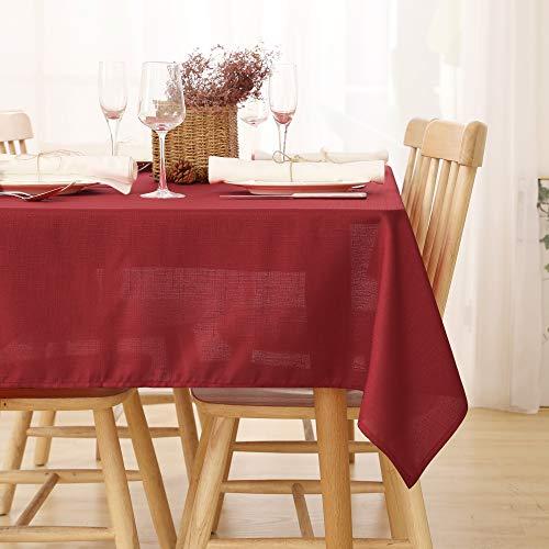 Deconovo Tischdecke Wasserdicht Tischdecke Lotuseffekt Tischtuch Leinenoptik 140x240 cm Rot