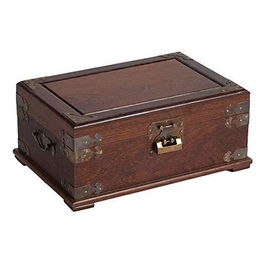 WOZUIMEI Joyero Redwood Mini Maleta de Doble Capa con Cerradura Y Espejo Caja de Joyería de Mano Antigua Caja de Baratija de Almacenamiento