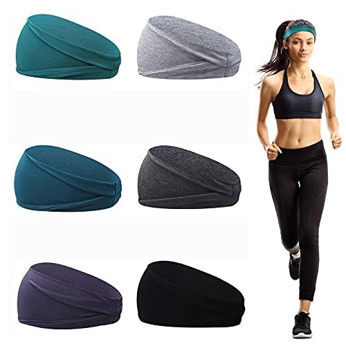 6 Pezzi Fasce Sportive da Donna, Fasce Per Capelli Donna in Cotone , Fascia Antisudore Elastica per Yoga, Corsa, Allenamento Fitness e Ciclismo (B)