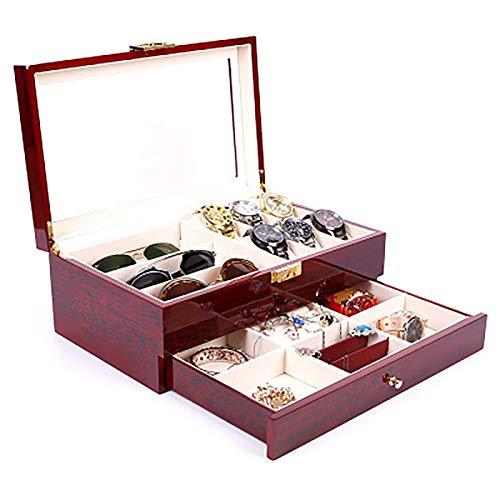 YUNLILI Caja de joyería de Doble Capa de Pintura al Horno, Caja de Reloj de 6 dígitos de Gama Alta + 3 Gafas, Caja de joyería para Collar, rayines, Pulseras