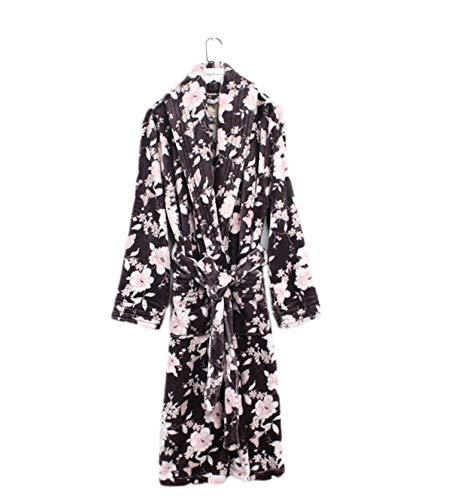 Adelina Cozy Zachte badjas voor dames, pyjama-kraag, badjas voor volwassenen, modieuze completi, spa, huisjas, douche, badjas