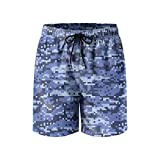 ERCGJJDFS Blue Digital Urban Camo Printed Swim Trunks Activewear Sportwear Men